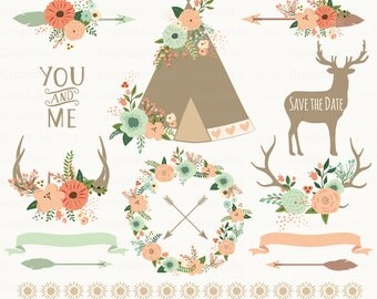 Floral Tribal Clipart. Floral Teepee, Floral arrows, borders, deer. Aztec Clipart. 15 images, 300 dpi. Eps, Png files. Instant Download.