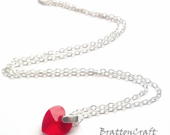 Red Heart Crystal Necklace - Crystal Heart Necklace - Valentine's Day Gifts - Valentine Necklace - Gifts for her - Mom Gifts