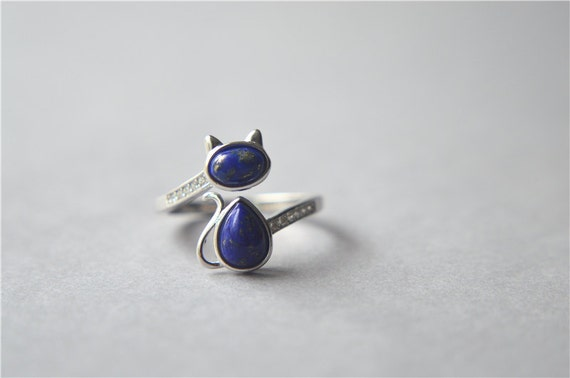 Lapis lazuli cat ring, sterling silver cat ring, zirconia cat ring, lasurite cat ring, big blue navy cat ring, adjustable (J74)