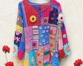 "Crochet Tunic Gypsy Boho Blouse Top Pullover Colorful Patchwork ""Gipsy Queen""/ IN STOCK"