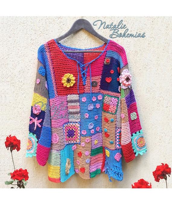 Free Crochet Pattern Boho Top : Crochet Tunic Gypsy Boho Blouse Top by CrochetLaceClothing ...