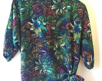 1970s, Boho, Vintage, Tropical, Floral Top // 70s, Costume, Shirt, Women's Size Medium