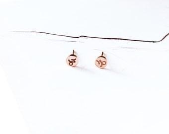 Capricorn Stud Earring 18K Rose Gold Horoscope Earring Star Sign Earring Simple Everyday Earring Birthday Gift Horoscope Astrology Earring