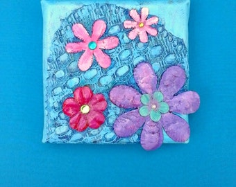Mini painting, four flowers original art on canvas, mixed media art collage, blue pink purple, floral abstract decorative, special offer