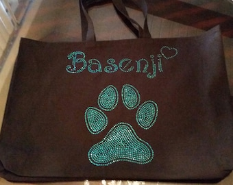 Basenji Jumbo Black Bling Tote Bag