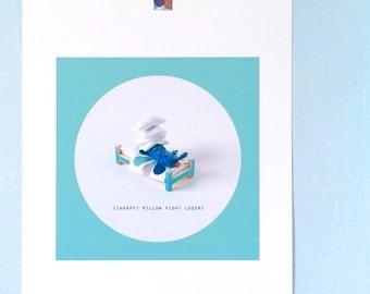 Print: (Happy) Pillow Fight Loser - slug felt graphic wall decor photo digital bed miniature toy blue