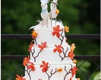 Featured on The Wedding Channel Wedding Cake Topper Portrait FerdiBird -- miniature custom love birds