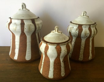 Mid Century Art Pottery Canister Set ~Stoneware Earthworks studio pottery ~Set of 3 storage containers