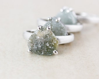 Moss Green Druzy Rings - Brushed Silver - Choose Your Druzy