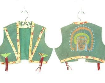 40s Child's Vest * Vintage Leather Novelty Vest * American Indian * size 5 6 7