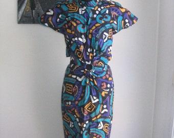 70s 80s vtg  handmade tribal cut out dress