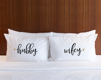 Pillowcases Wedding Gift - Hubby Wifey Pillow Case Set Gold Glitter Gift for Bride at Bridal Shower Gift or Anniversary Gift (Item - PHW400)