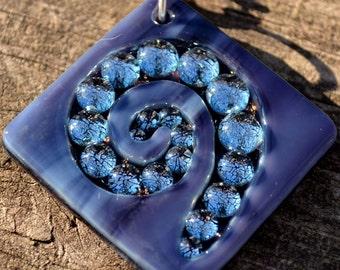 Stunning Purple Spiral // Dichroic Fused Glass Pendant // StephGlass Original Art
