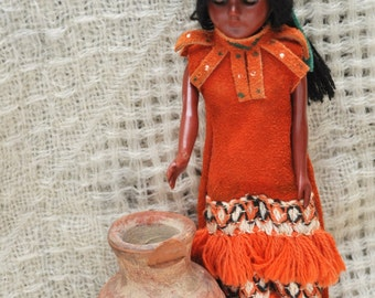 Vintage Southwest Decor/Native American Indian Doll/Collectible Mini Earthern Jar/Souvenirs Suede & Fringe Dress/ 60s 70s/Toy/Sleepy Eye/2pc