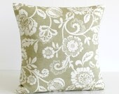 Floral Pillow Cover, Cushion Cover, Pillow Sham, 16 Inch Decorative Pillow, 16x16 Accent Pillow, Shabby Chic - Tapestry Flowers Sage