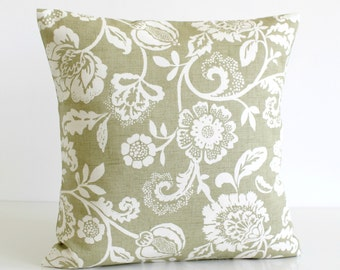 Cottage Pillow Cover, Cushion Cover, Pillow Sham, 18 Inch Decorative Pillow, 18x18 Accent Pillow, Shabby Chic Pillow - Tapestry Flowers Sage