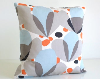 Sofa Pillow Cover, Decorative Cushion Cover, 20 Inch Pillow, Accent Pillow Cover, Modern Pillow Sham, 20x20 Pillow - Nordic Tulips Orange
