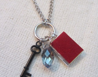 Mini Secret Diary of Laura Palmer necklace inspired by Twin Peaks, featuring a word from the actual book & a faux velvet cover.