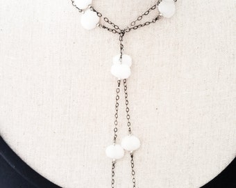 Long Silver White Agate Lariat Necklace