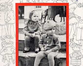1940s Vintage Knitting Patterns for Children Tiny Tots Knitwear for Girls & Boys Aged 1 - 3 Years Sweaters Dresses Coats Original Booklet