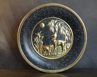 Vintage 60's Guildcraft Large Round Metal Tin Container-Cookie Tin Box-Storage-Display-Deer Doe Fawn-Gold