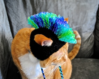 Mohawk Cat Hat - Black and Green, Purple, Blue Tie Dye - Hand Knit Cat Costume