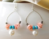 Beaded Hoop Earrings Peach Coral Turquoise White Freshwater Pearl .925 Sterling Silver Chandelier Dangle Handmade Artisan Jewelry By SS