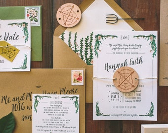 Rustic and Whimsical Garden Wedding Invitation