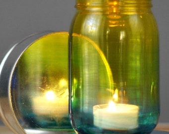 Bohemian Decor, Ombre Tinted Mason Jar Lantern, Glass Tint Fading from Teal to Yellow, Hand Painted Colorful Glass Candle Holder