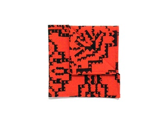 Red and Black Aztec pocket square