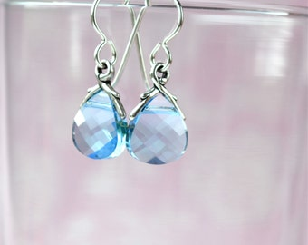 Blue Swarovski Earrings, Light Blue Earrings, Blue Crystal Earrings, Bridesmaid Earrings, Sterling Silver Drop Earrings, Briolette Earrings