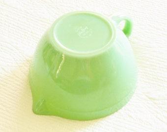 Vintage Cottage Home Celadon Green Jadeite Batter Bowl with Handle, Romantic Home, Olives and Doves