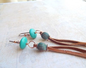REAL TURQUOISE Long Leather and Copper Earrings - Boho Earrings - Gypsy Earrings - Long Leather Earrings - Hypoallergenic Earrings -