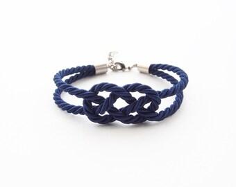 Rope knot bracelet - navy blue bracelet - infinity knot bracelet - rope jewelry - nautical jewelry - silk rope bracelet - rope bracelet
