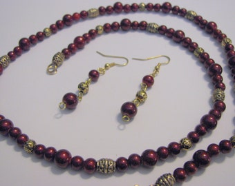 Striking LONG Necklace And Earrings Set - CRANBERRY CRUSH - One of A Kind - Great Gift Idea!