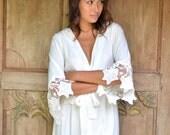 Sylvie Lace Sleeve Bridal Robe, Ivory Lace, Bridal Robe, Bridesmaid Robe - P110