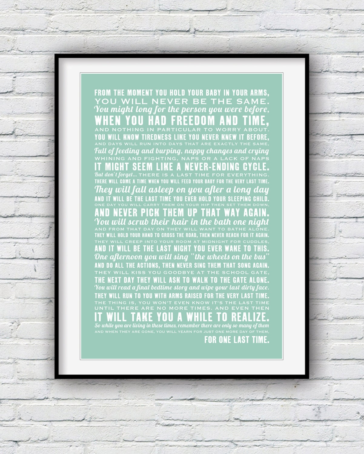 The Last Time poem for parents nursery decor baby shower