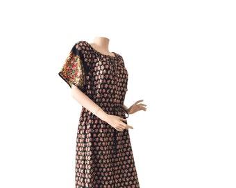 Floral 70s Summer Scoop Neck Dress Size M | 38 - 40 | US 8 - 10 | UK 10 - 12