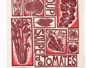 Tomato Soup; organic cotton, screen printed tea towel - Tomato Soup Design from a hand pulled and hand painted lino cut print