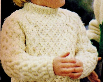 Child's Fisherman Cable Sweater Vintage Knitting Pattern Download