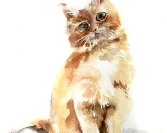 Kitten Original Watercolor Painting, Cat Watercolour Art, Cat Portrait Painting