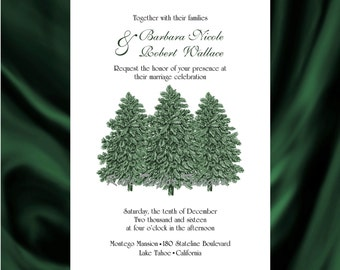 Pine Tree Wedding Invitation & RSVP Pine Tree Wedding Invitations Pine Tree Invitation and RSVP - Tree Design 54