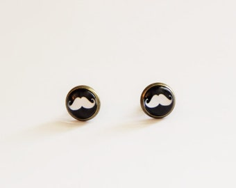 White Mustache Stud Earrings