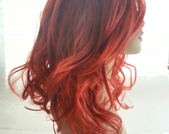 Long Red Wig with Sweeping Bang, A-Line with Long Layers, A-Line Bob