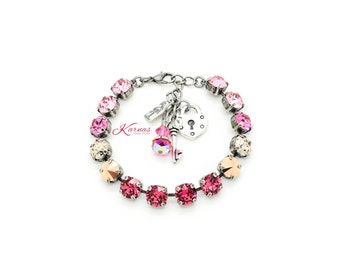 MOSAIC PINK 8mm Crystal Chaton Bracelet Made With Swarovski Elements *Pick Your Finish *Karnas Design Studio *Free Shipping*