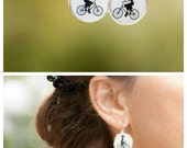 Bicyclist Lady on Bicycle Earrings - Photo Post Earrings with Bicycle - Bicyclist Gift - Gift for Women Bicycle Lover - Bike Lover Girl Gift
