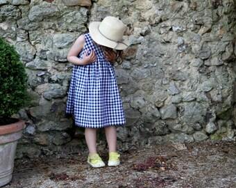 Blue gingham dress for toddler, Summer girl dress, 3T dress, Girls summer outfit, Sleveless dress for girl, Cotton dress, Blue and white, 4T