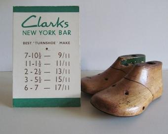 Sweetly nostalgic little vintage CLARKS SHOES show card~New York Bar Best TURNSHOE Make~Vintage shoe advertising ephemera