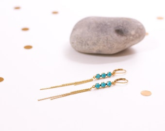Long earrings Turquoise, turquoise blue swarovski crystal, fine chain brass