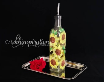 Handpainted Sunflower Olive Oil Dispenser, Painted Glass Bottle, Yellow Sunflower, Oil Bottle, Oil Dispenser, Glass Bottle, Spring,Sunflower
